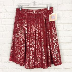 Lularoe Elegant Madison Red Silver Swing Skirt NWT